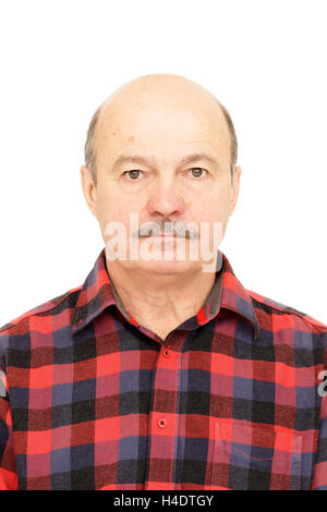 Elderly old man  with mustache, bald man in plaid shirt - Stock Photo