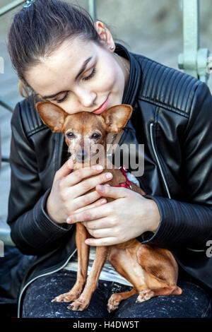 Young girl with her beloved dog, Prague ratter, Czech Republic - Stock Photo