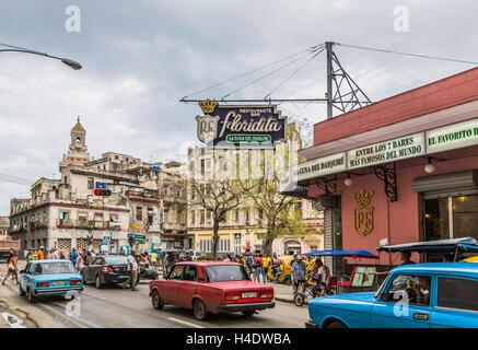 Old-timer, La Floridita, favorite bar Ernest Hemingway, Daiquiri cocktail, historical Old Town Havana, Habana Vieja, - Stock Photo