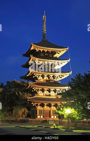 Japan, Nara, Kofukuji Temple, UNESCO World Heritage, the Pagoda - Stock Photo