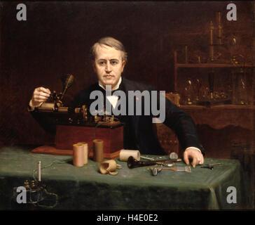 Thomas Edison.1890 painting of the inventor Thomas Alva Edison (1847-1931) by  Abraham Archibald Anderson - Stock Photo