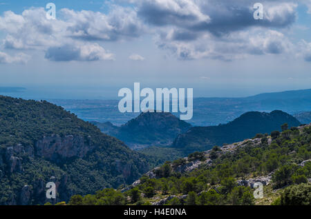 Panorama of Palma de Mallorca from Tramuntana mountains on the GR 221, Mallorca, Baleares, Spain - Stock Photo