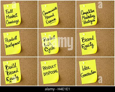 Photo collage of Business and Marketing notes written on yellow paper post-it pinned on cork board with white thumbtack. - Stock Photo