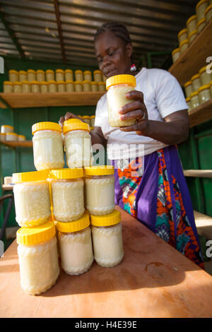 Shea butter is made at a fair trade production facility in Réo, Burkina Faso, West Africa. - Stock Photo