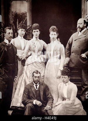 The Royal Family in 1898: From Left-Right:  Prince Albert Victor - Duke of Clarence; Princess Maud; Princess Victoria - Stock Photo