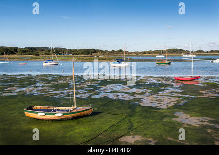 Low tide at Newtown Harbour NNR, Isle of Wight, UK - Stock Photo