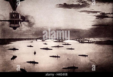 Some of the Royal Navy's fleet in the Firth of Forth off Rosyth, prior to the Zeebrugge attack in in April 1918. - Stock Photo