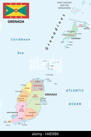 Grenada political map with capital St Georges Caribbean islands