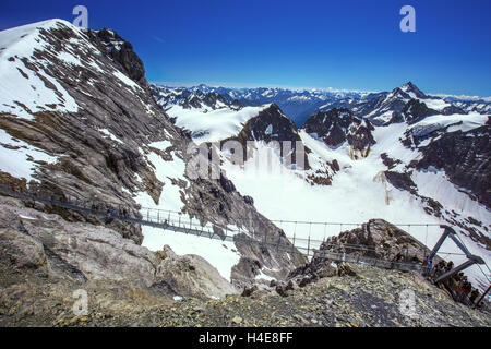 The Europe's highest suspension bridge on mount Titlis in Switzerland. - Stock Photo