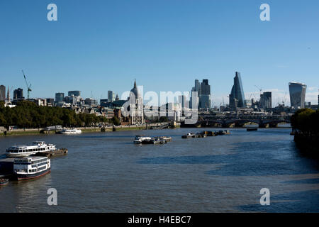 View across River Thames to City of London from Waterloo Bridge, London, UK - Stock Photo
