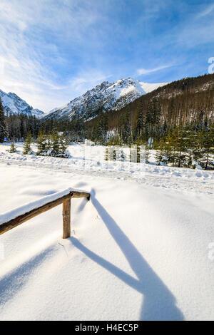 A view of winter scenery in Tatra Mountains near Morskie Oko lake, Poland - Stock Photo