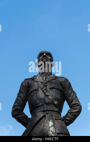 Bronze statue of Jan Christiaan Smuts by sculptor Jacob Epstein in Parliament Square, London with copyspace above. - Stock Photo