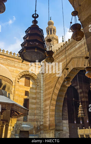 The different arabian lights are traditional elements of interior decoration in Al-Nasir Muhammad complex, Cairo - Stock Photo