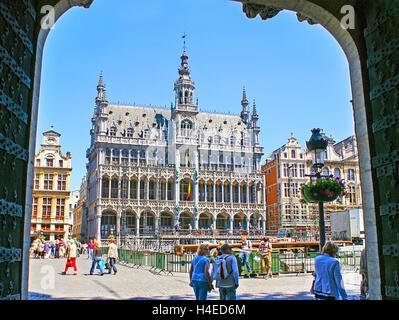 The Grand Place boasts the splendor Gothic buildings, among them the Breadhouse, also known as the King's House - Stock Photo