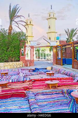 The large arabic open air restaurant located in the base camp of safari to Sahara, Hurghada, Egypt. - Stock Photo
