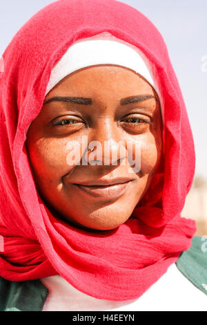 Beautiful young girl in Nubian village outside Aswan, Egypt - Stock Photo