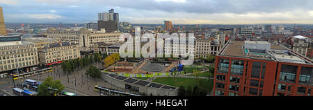 Manchester city centre panorama, looking north towards the Northern Quarter, Lancashire, England, UK - Stock Photo