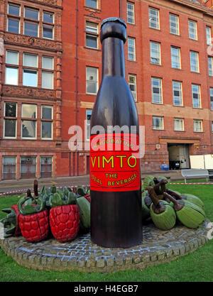 Giant Vimto fruit drink bottle monument,Manchester University,England,UK - Stock Photo