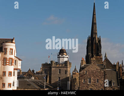 Edinburgh Old Town Skyline viewed from The Castle, Esplanade, Edinburgh,Scotland, UK - Stock Photo