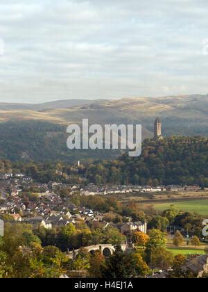 The view from Stirling Castle across The Old Bridge to The Wallace Monument and Ochil Hills, Stirling, Scotland, - Stock Photo
