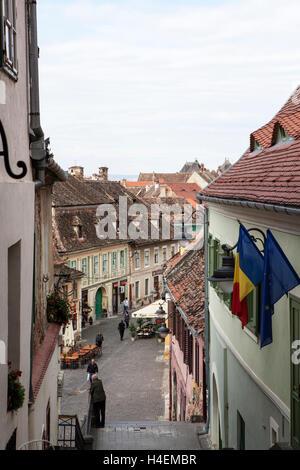 Street in Sibiu Romania - Stock Photo