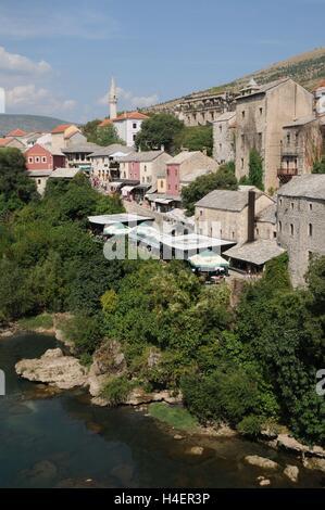 The view off the Stari Most bridge, Bosnia Herzegovina - Stock Photo