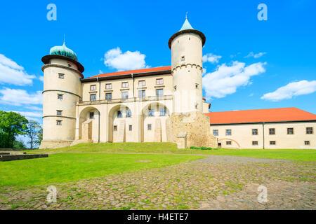 Nowy Wisnicz castle on sunny beautiful day, Poland - Stock Photo