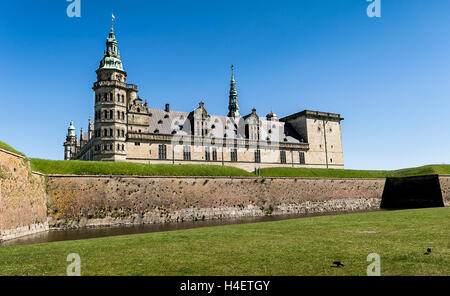 Kronborg Castle, residence of Hamlet, settled in a town Helsingor, north of Copenhagen, Denmark - Stock Photo
