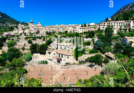 Ancient mountain town Valldemossa in Majorca island, Tramuntana mountains, Spain - Stock Photo