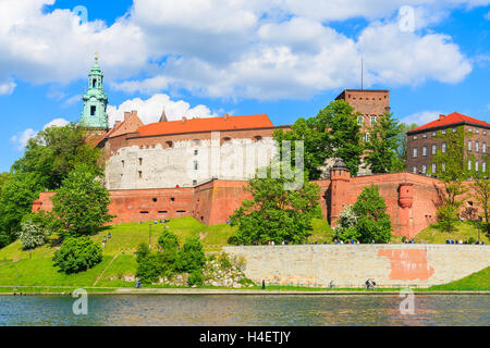 View of Wawel Royal Castle built along Vistula river on sunny beautiful day, Poland - Stock Photo