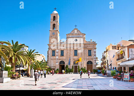 The Greek Orthodox Cathedral is located on Plateia Mitropoleos Square and called Church of Trimatyri, Chania Crete - Stock Photo
