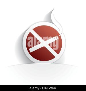 no smoking icon paper style full vector - Stock Photo