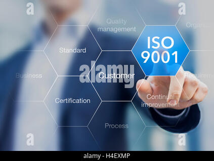 ISO 9001 standard for quality management of organizations with an auditor or manager in background - Stock Photo