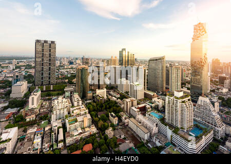 Bangkok night view with skyscraper in business district in Bangkok Thailand. - Stock Photo