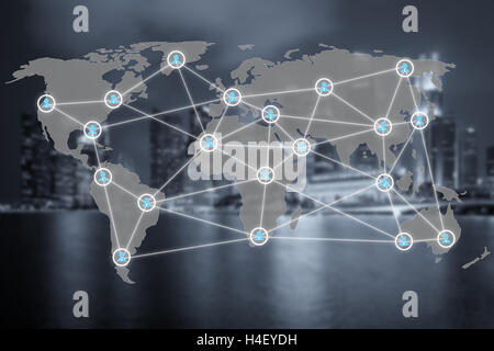 Global social network or people management connection diagram icons with map connection. Network work connections - Stock Photo