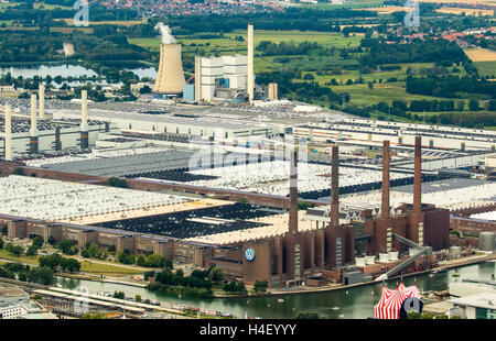 Aerial view, Volkswagen factory with heating plant VW Südstraße, Lower Saxony, Germany - Stock Photo