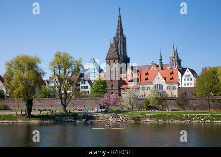 Panorama, cityscape, Danube, Ulm, Baden-Wuerttemberg