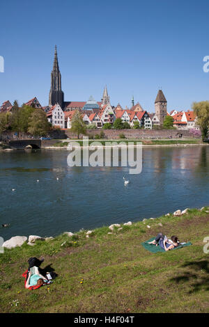 Cityscape and people on the Danube bank, Ulm, Baden-Wuerttemberg