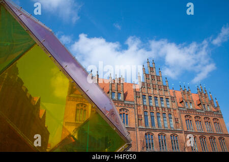 Old town hall, brick gothic and piece of art, Hannover, Lower Saxony - Stock Photo