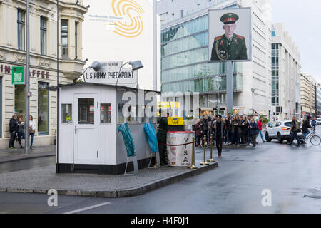 the site checkpoint Charlie in the center of Berlin - Stock Photo