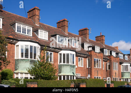 Early 20th century Arts and Crafts houses,  Brandling Village, KIngsland, Jesmond, Newcastle upon Tyne, England, - Stock Photo