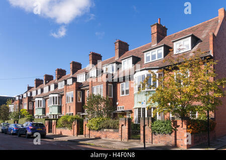 Early 20th century Arts and Crafts houses, Brandling Village, Jesmond, Newcastle upon Tyne, England, UK - Stock Photo