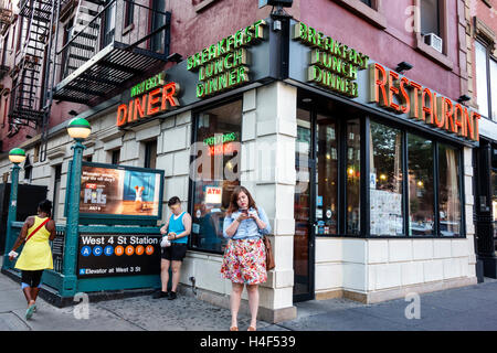 Manhattan New York City NYC NY West Village Waverly Diner restaurant casual dining business neon sign exterior open - Stock Photo