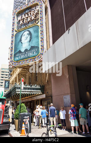 Manhattan New York City NYC NY Midtown Broadway theater district Walter Kerr Theatre The Crucible drama play marquee - Stock Photo
