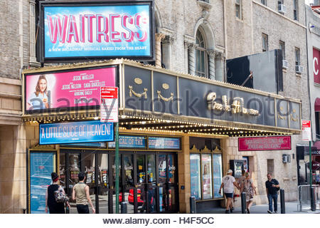 Manhattan New York City NYC NY Midtown Broadway theater district Waitress Brooks Atkinson Theatre musical marquee - Stock Photo