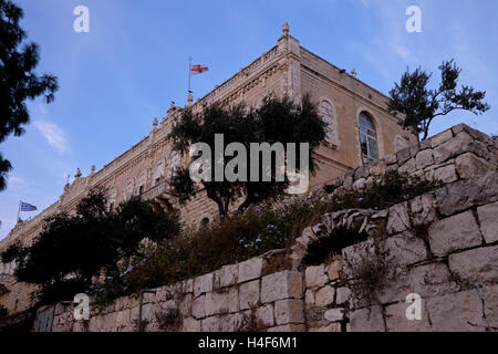 View of the Greek orthodox seminary in Mount Zion Old city East Jerusalem Israel - Stock Photo
