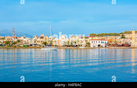 The best way to discover Rethymno and coastal villages of Crete is to take a yacht and enjoy the picturesque trip, - Stock Photo