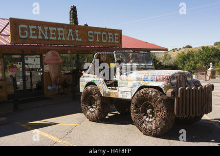 Utah, Moab Hole in the Rock, license plate art car and general store - Stock Photo