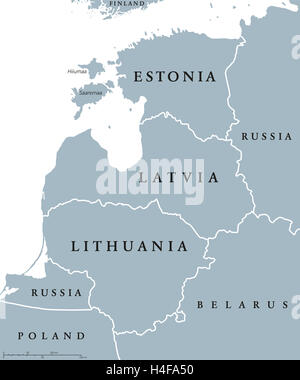 Baltic countries political map, also known as Baltics, Baltic nations or states. Estonia, Latvia and Lithuania with - Stock Photo