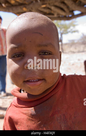 himba children in a camp in north namibia - Stock Photo